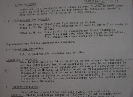 Un documento della 1^ Armata Francese del 30 dicembre 1944